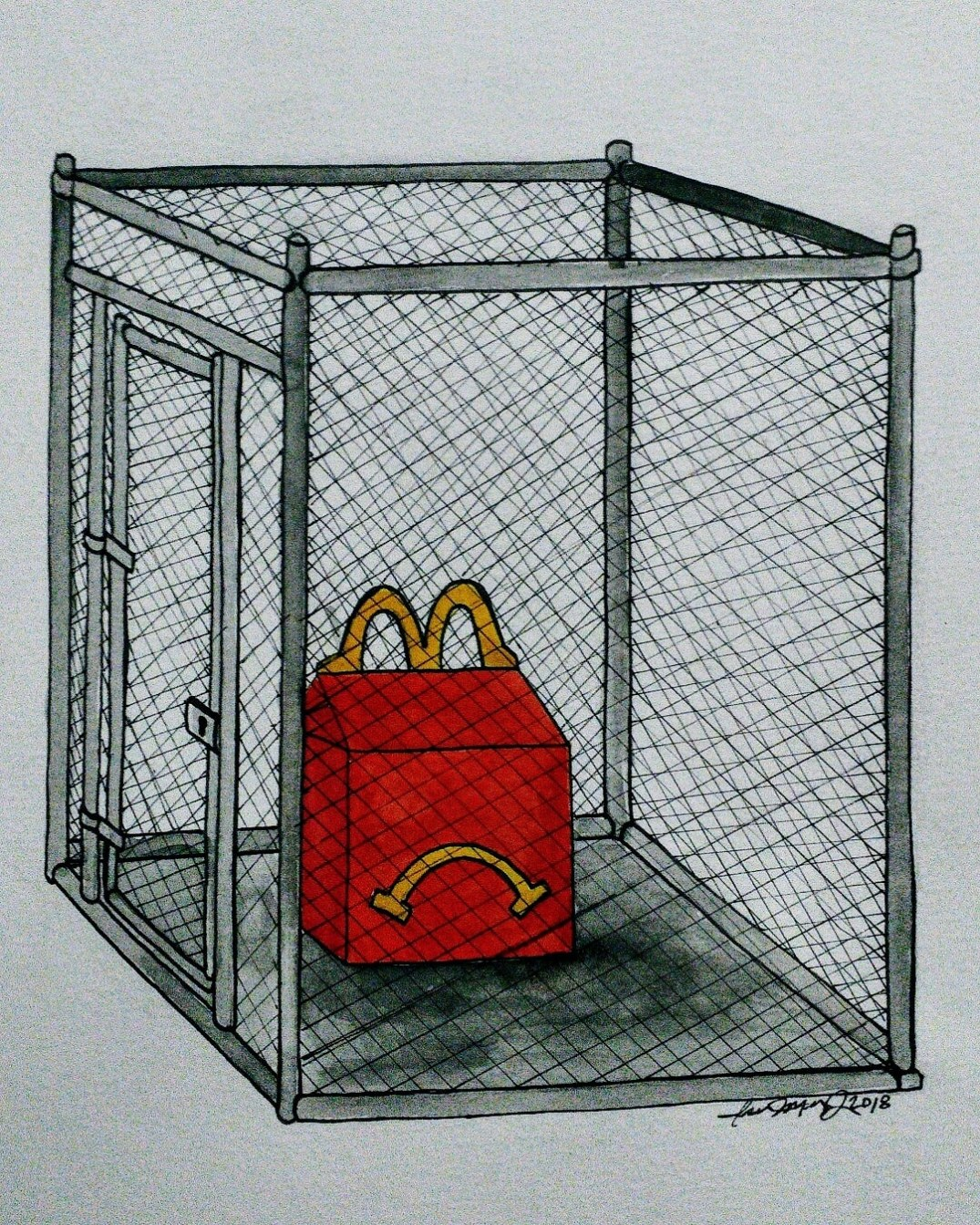 IMG_The are no Happy Meals in cages_watercolor + ink 16×16
